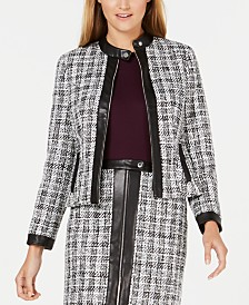 Calvin Klein Tweed Zip-Up Jacket With Faux-Leather Trim