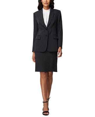 Pinstriped Jacket & Pencil Skirt by General