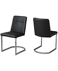 2 Piece Leather Look Dining Chair Set