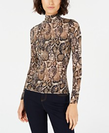 T.D.C. Topson Mock-Neck Snake-Print Top