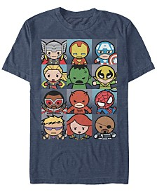Marvel Men's Comic Collection Kawaii Avenger Boxes Short Sleeve T-Shirt