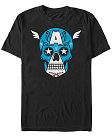 Men's Captain America Sugar Skull Big Face Mask Short Sleeve T-Shirt