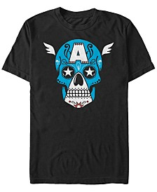 Marvel Men's Comic Collection Captain America Sugar Skull Short Sleeve T-Shirt