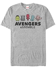 Marvel Men's Comic Collection Kawaii Avengers Assemble Short Sleeve T-Shirt