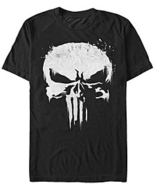 Men's Punisher White Paint Splattered Skull Short Sleeve T-Shirt