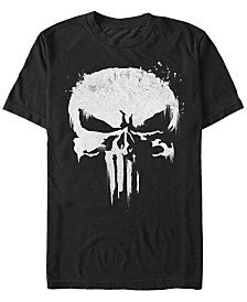 Marvel Men's Punisher White Paint Splattered Skull Short Sleeve T-Shirt