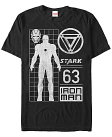 Marvel Men's Comic Collection Classic Iron Man Schematic Short Sleeve T-Shirt