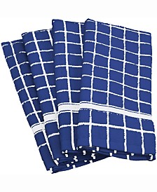 Solid Windowpane Terry Dishtowel, Set of 4