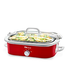 Elite Gourmet 3.5 Quart Casserole Slow Cooker with Locking Lid