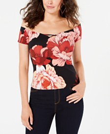 GUESS Off-The-Shoulder Floral-Print Top