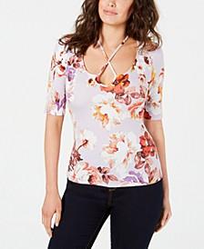 Floral-Print Crisscross Top