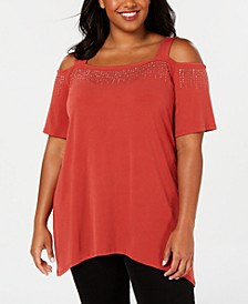 Plus Size Embellished Cold-Shoulder Top, Created for Macy's