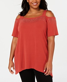 JM Collection Plus Size Embellished Cold-Shoulder Top, Created for Macy's