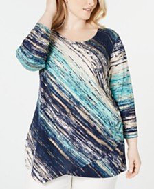 JM Collection Plus Size Printed Asymmetrical Top, Created for Macy's