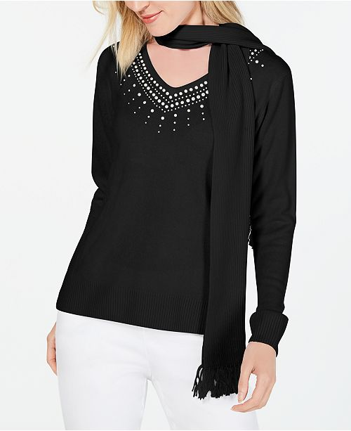 Karen Scott Petite Embellished Sweater With Scarf, Created for Macy's