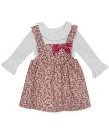 Baby Girls 2-Pc. Ruffle-Trim Top & Floral-Print Corduroy Jumper