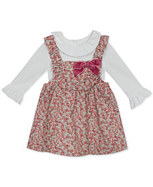 Rare Editions Baby Girls 2-Pc. Ruffle-Trim Top & Floral-Print Corduroy Jumper