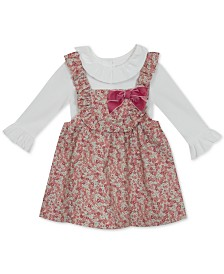Rare Editions Baby Girls 2-Pc. Ruffle-Trim Top & Floral-Print Corduroy Jumper