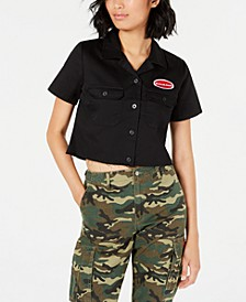Short-Sleeve Cropped Work Shirt