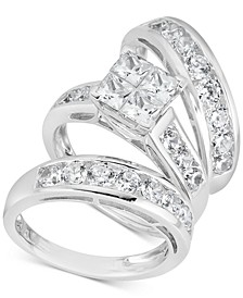 Diamond Cluster Bridal Trio (4 ct. t.w.) in 14k White Gold