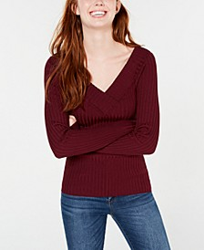 Juniors' V-Neck Ribbed Sweater