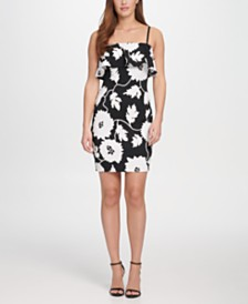 GUESS Floral Embroidered Bodycon With Removable Spaghetti Straps