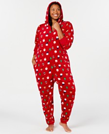 Matching Family Pajamas Plus Size Santa and Friends Hooded Pajamas, Created for Macy's