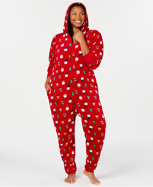 Matching Plus Size Santa and Friends Hooded Pajamas, Created for Macy\'s