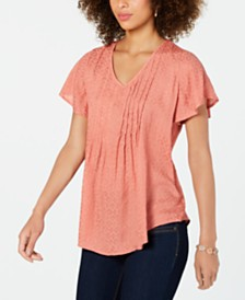Style & Co Textured Flutter-Sleeve Top, Created for Macy's