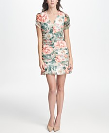 kensie Ruched Floral Printed Lace Dress