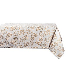 """Metallic Holly Leaves Tablecloth 60"""" x 84"""""""