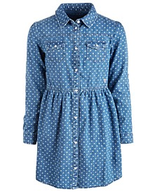 Big Girls Cotton Printed Denim Shirt