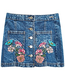 Big Girls Cotton Embroidered Denim Skirt