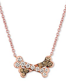 "Le Vian® I Love Dogs Collection 20"" Pendant Necklace (3/4 ct. t.w.) in 14k Rose Gold"