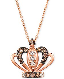"""Le Vian® Royalty Collection Chocolate Diamonds® (1/4 ct. t.w.) & Nude Diamonds™ (1/10 ct. t.w.) Tiara 20"""" Pendant Necklace in 14k Rose Gold"""