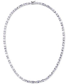 """Cubic Zirconia 18"""" Tennis Necklace in Sterling Silver"""