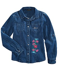 GUESS Big Girls Cotton Embroidered Chambray Shirt