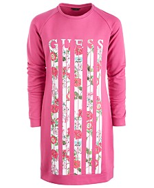 GUESS Big Girls Cotton Floral Sweatshirt Dress