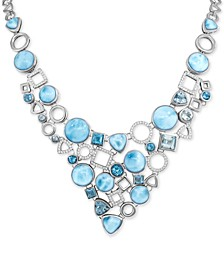 """Multi-Gemstone 18"""" Statement Necklace in Sterling Silver"""