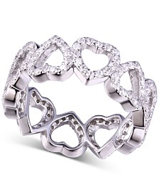 Cubic Zirconia Heart Band Ring in Sterling Silver