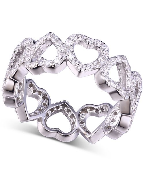 Macy's Cubic Zirconia Heart Band Ring in Sterling Silver