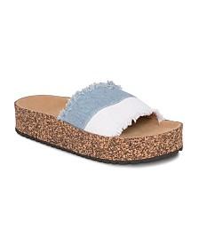 Olivia Miller Sanibel Denim Frayed Color Block Sandals