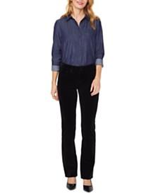 NYDJ Marilyn Double-Snap Straight-Leg Jeans