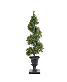 4Ft. Pre-Lit Potted Spiral Tree with Round Branch Tips and 100 Clear Lights