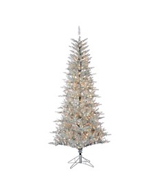 7.5Ft. Silver Tuscany Tinsel Tree with 450 Clear Lights