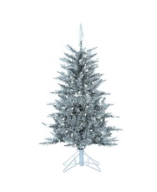 4Ft Silver Tuscany Tinsel Tree with 150 Clear Lights