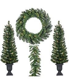 Assorted Set of 4 Vancouver Pine  Seasonal Entryway Greenery