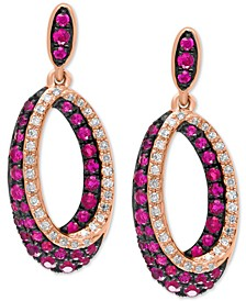 EFFY® Certified Ruby (7/8 ct. t.w.) & Diamond (1/5 ct. t.w.) Drop Hoop Earrings in 14k Rose Gold