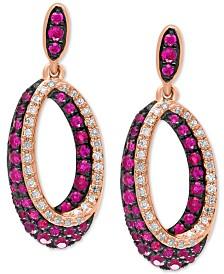 EFFY® Certified Ruby (7/8 ct. t.w.) & Diamond (1/5 ct. t.w.) Drop Hoop Earrings in 14k Rose Gold