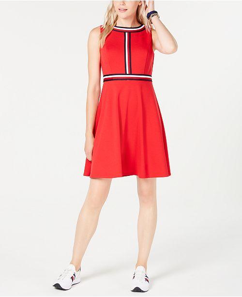 Tommy Hilfiger Striped-Trim A-Line Dress
